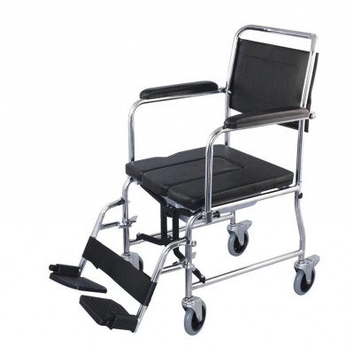 Foldable wheelchair with commode
